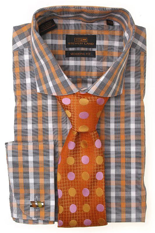Steven Land Shirts Dress Modern 100% cotton modern/classic fit shirts  DM1240   Orange $69 #StevenLand #WellDressed