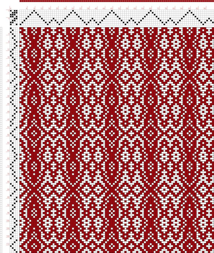 draft image: Threading Draft from Divisional Profile, Tieup: A Handbook of Weaves by G. H. Oelsner, Draft #44241, 8S, 4T