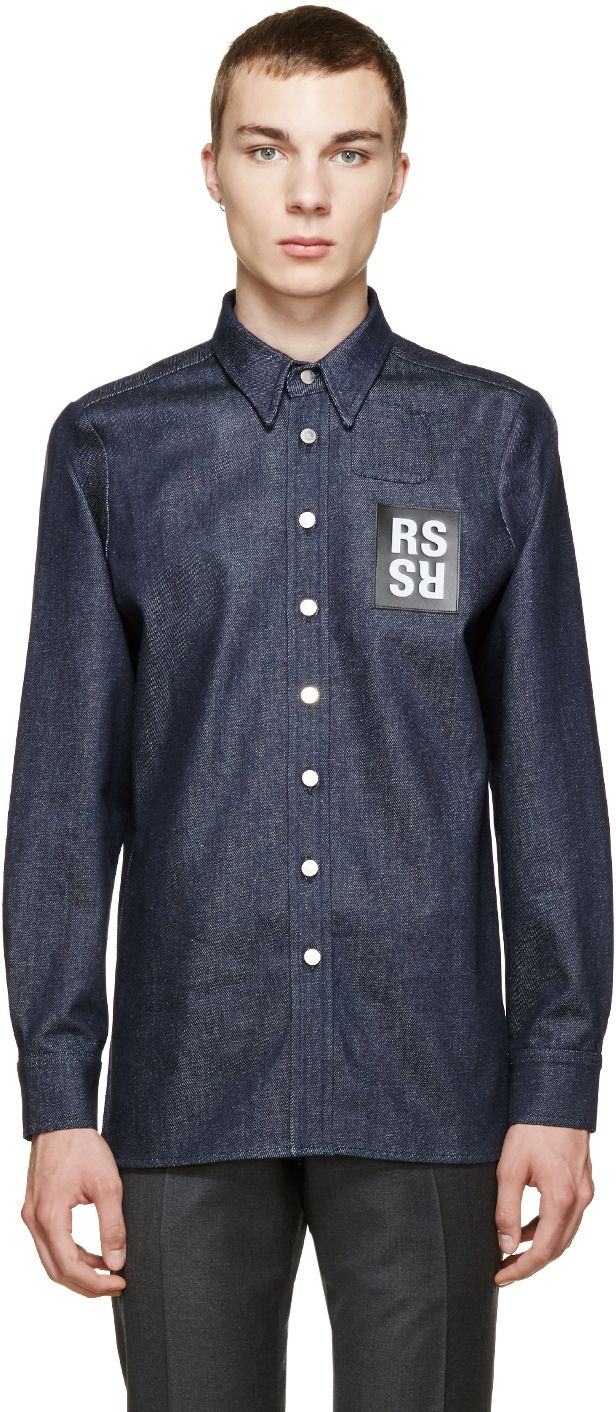 Raf Simons: Blue Denim Logo Patch Shirt | SSENSE