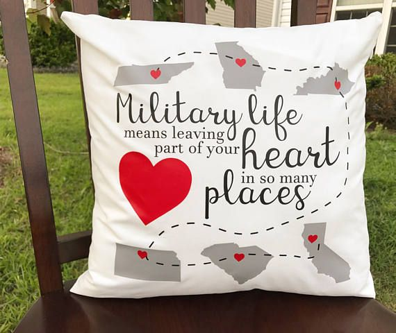 Military State Throw Pillow, Veteran Pillowcase, Military Spouse Pillow, Decorative Pillow Cover, Military Gift, Moving Present, PCS Gift