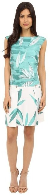 Donna Morgan Cap Sleeve Aquarelle Drop Waist Dress