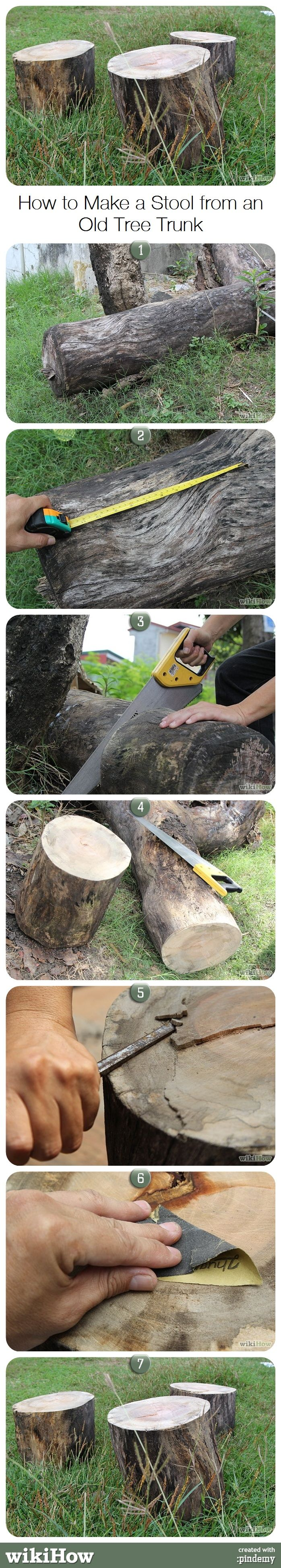 Make A Stool From An Old Tree Trunk