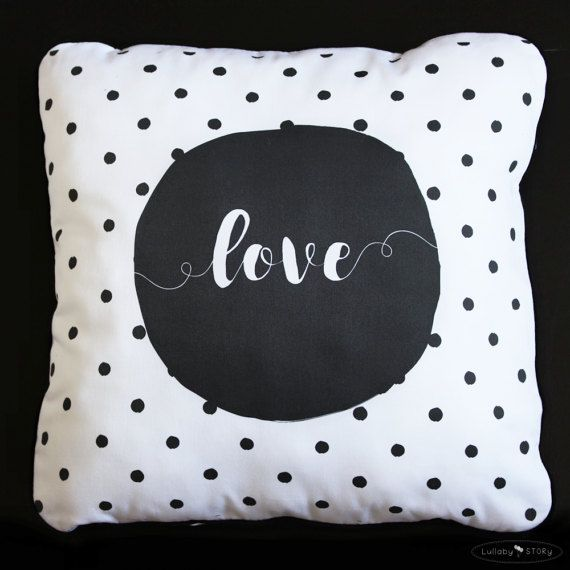 Decorative cushion-Black and white pillow-Polka by LullabySTORY