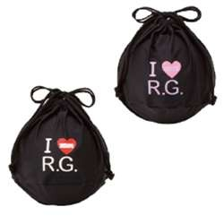 "Sasaki Ball Cover (SB-50): The RG ball holder will securely hold your RG equipment, and is great for either transporation or storage needs. The drawstring top is simple to use and holds your RG ball in place. The front reads ""I [Heart] R.G."", letting you show off your passion for rhythmic gymnastics, and is constructed from 85% nylon and 15% polyurethane. Available colors: black with pink accents or black with red accents. On Sale for $46."