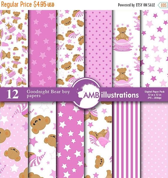 80%OFF Goodnight bear digital papers Nursery papers Slumber party papers It's a girl scrapbook papers commercial use AMB-986