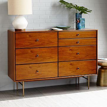 "$1199  Dimensions: 54""w x 18""d x 39""h. Heston Mid-Century 7-Drawer Dresser - Walnut #westelm"