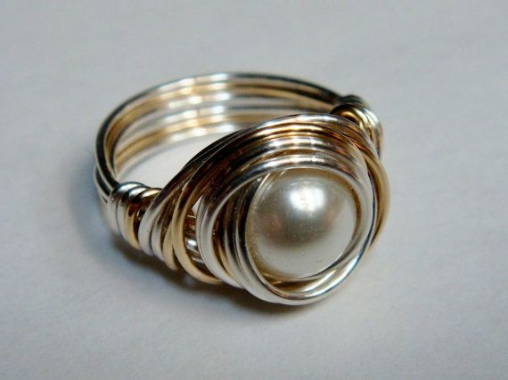 White Pearl Ring  Glass Pearl Ring Sterling by SpiralsandSpice, $28.00