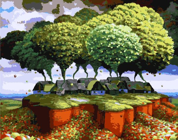 Оформлена настенные панно искусства цифровой живописи маслом по номерам ручной работы на холсте домашнего декора абстрактный пейзаж для гостиной G039купить в магазине Yiwu Xinshixian Arts and Crafts Co., Ltd.наAliExpress