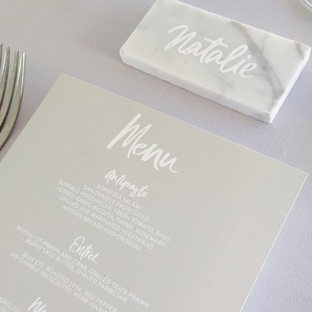 """""""#details ...our custom place cards -hand illustrated names engraved on marble (yes. marble.) #thestyleco #andreaandsteve"""" Photo taken by @thestyleco on Instagram, pinned via the InstaPin iOS App! http://www.instapinapp.com (03/08/2015)"""