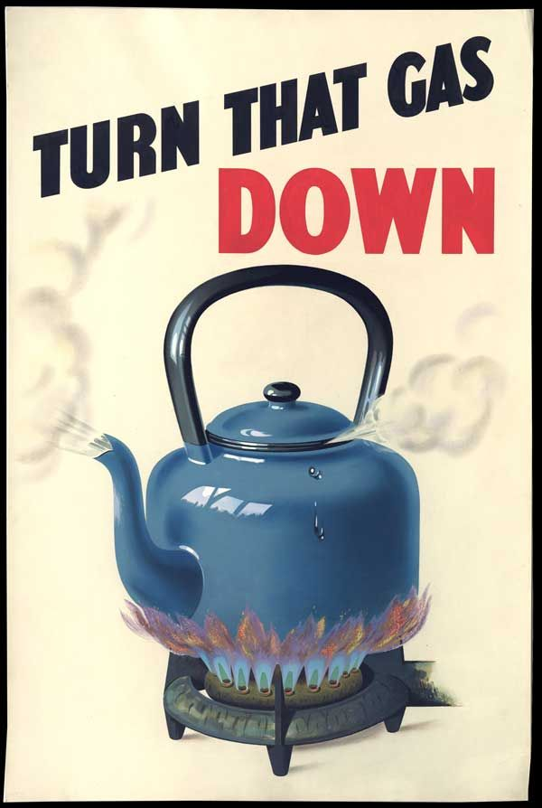 Wartime Food Poster: British Ministry of Fuel and Power, Advertiser's Weekly, 12th October 1944: A subtly coloured fuel economy poster shows an unattended kettle boiling over a full gas flame. The poster accompanies an article referring to the new winter economy campaign.