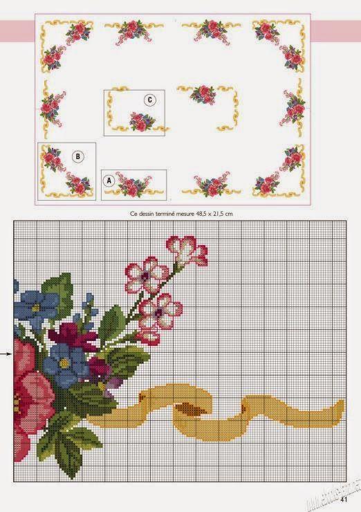 Gráfico toalha de mesa em ponto cruz ramos de flores, flores vermelhas