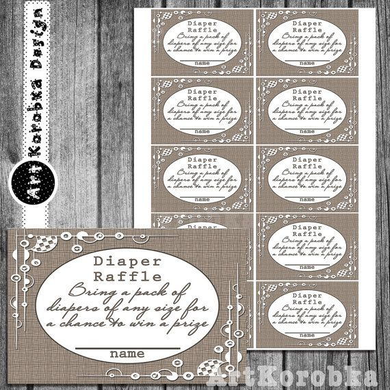 Printable Vintage Baby Shower Diaper Raffle Ticket by Artkorobka