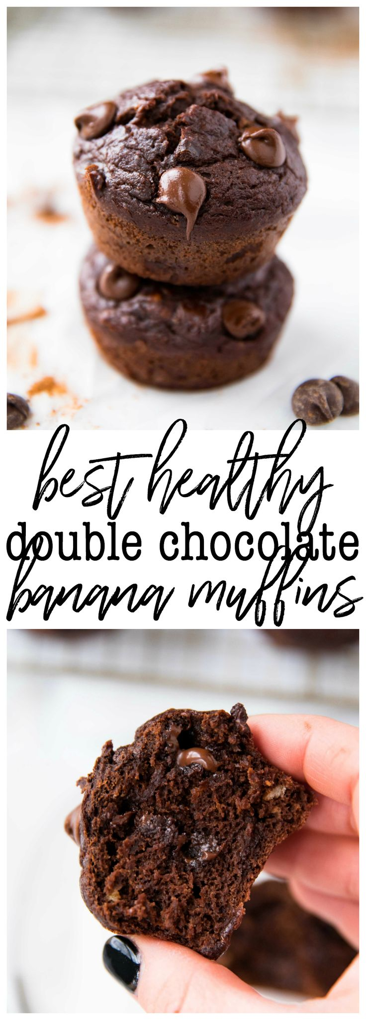 The Best Healthy Double Chocolate Banana Muffins - Super tender, fudgy and bursting with chocolate flavor – they're EVERYTHING!