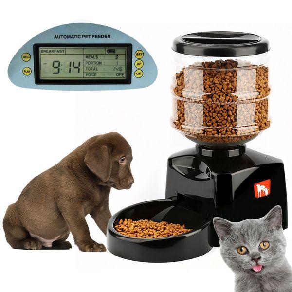 5 5l Automatic Pet Feeder Food Dish Bowl Dispenser Lcd Display Dog