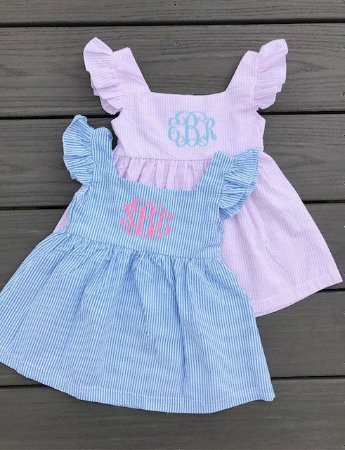 Monogrammed Seersucker Dress | Preppy Personalized Baby and Toddler Girl's Summer Ruffle Sleeve Dress by LLMonograms on Etsy