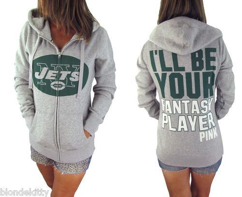 Victorias Secret PINK Nwt VICTORIA SECRET NY JETS HOODIE Small PINK Fantasy  Player Sweatshirt Jacket Victorias Secret PINK Bling Slouchy Zip ... 1ce889435