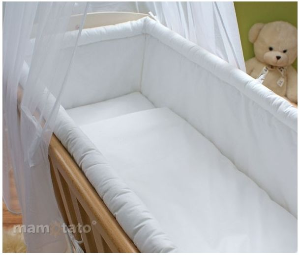 Startpaket vita sängkläder till vagga 7 delar