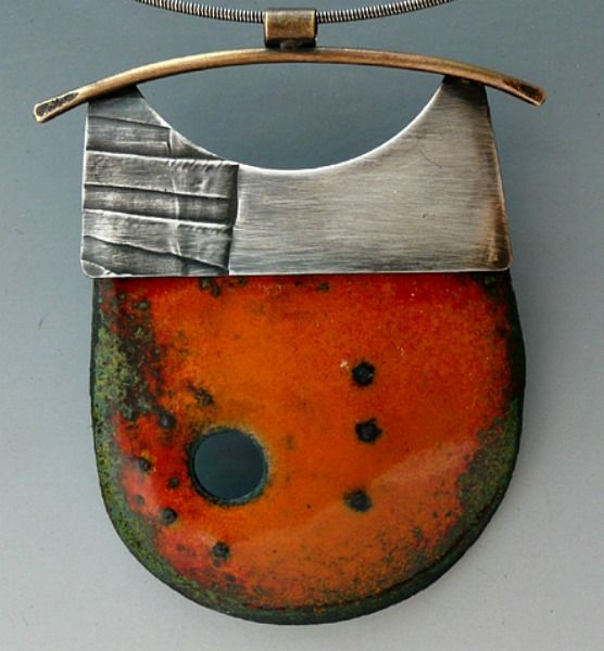 Enamel Pendant with sterling silver frame by Patti Wells