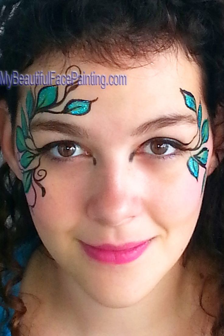 Woodland fairy green leaf face paint