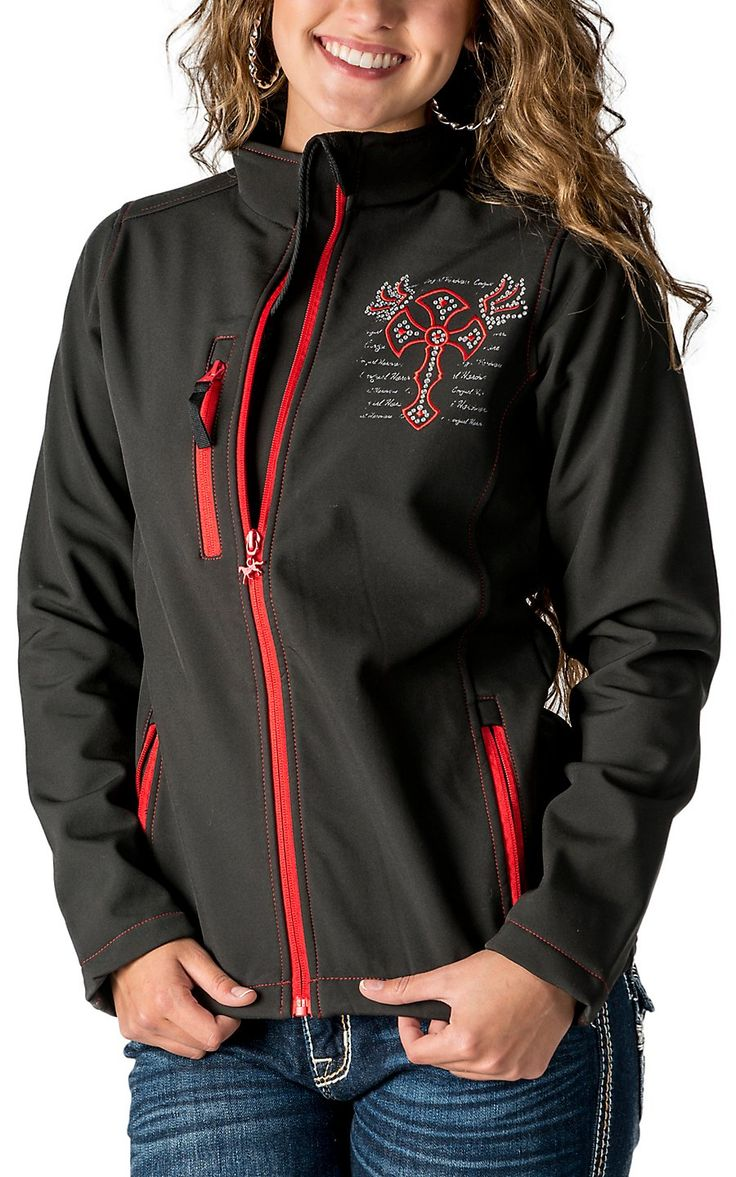 Cowgirl Hardware Women's Black with Red Winged Cross Polyshell Jacket
