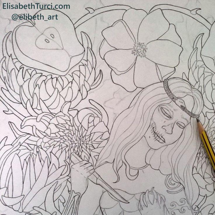"Work in progress. ""Amore-Odio"" (detail) by Elisabeth Turci. _ #illustration #workinprogress #art #ink #inkonpaper #pencil #pencildrawing #love #hate #apple #snake #snakebite #symbolism #conceptual #girl #chrysanthemum #rose #fingertattoo #skullart #snowwhite #lowbrowart #popsurrealism #popsurreal"