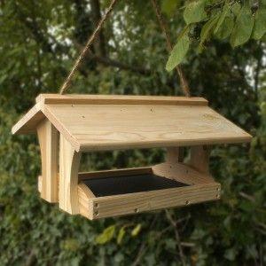 wooden bird feeder. could make it into a post bird feeder?