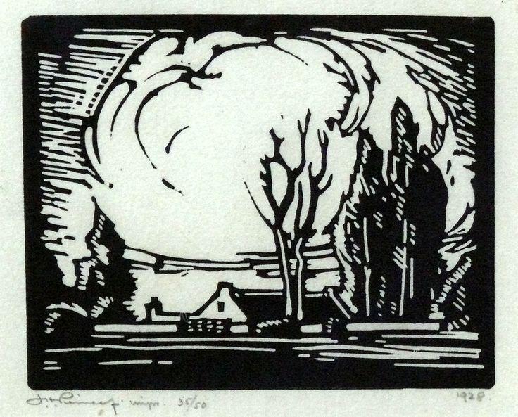 JH Pierneef, Linocut, 125 x 150 mm, Farmhouse on landscape