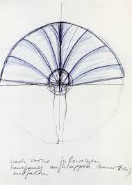 Rebecca Horn | Fan, 1970 [materiali: inchiostro e pastello su carta; dimensioni cornice: 479 x 379 x 40 mm; collezione: Tate]