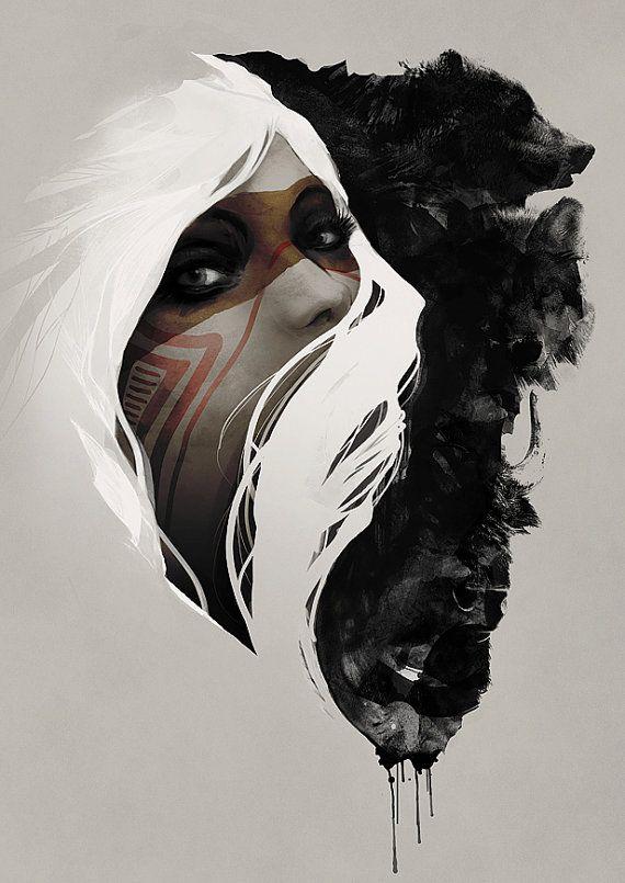 Art natif Wolf grizzli femelle peinture faune Nature Portrait Art Print
