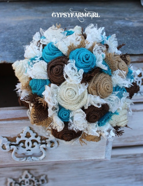 But with bunt orange...GypsyFarmGirl: Turquoise Burlap and Lace Wedding Bouquets; another angle...  Love this but with red or burnt orange instead of the teal flowers!!!!!!!  Heres you another idea! @dixie Farris