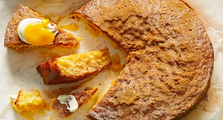Pineapple butter cake with mango sauce