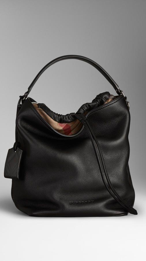 Burberry Medium Canvas Check Leather Hobo Bag