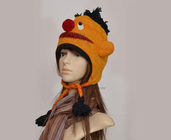 Ernie animal hat   warm hat  knit hat  beanie by HatsMittensEtc