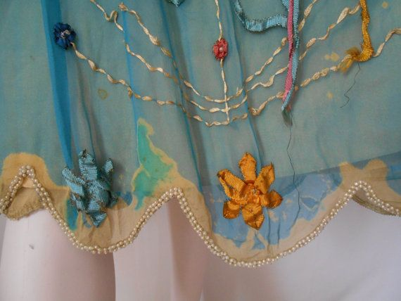 Spectacular 1920's Teal Chiffon Flapper/Great от missolives14