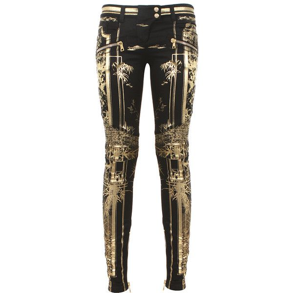 Balmain black and gold-tone printed biker jeans ($715) ❤ liked on Polyvore featuring jeans, pants, bottoms, calças, trousers, balmain, balmain jeans, biker jeans, cropped jeans and zipper jeans