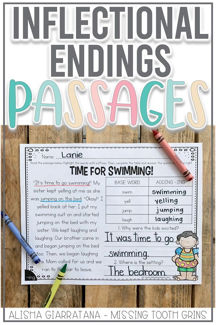 Inflectional Endings Passages | Inflectional endings ...