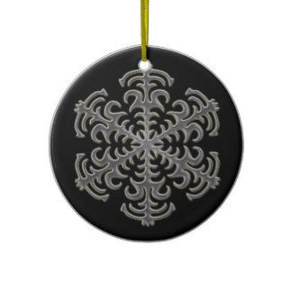 Silver Snowflake on Black Ceramic Ornament