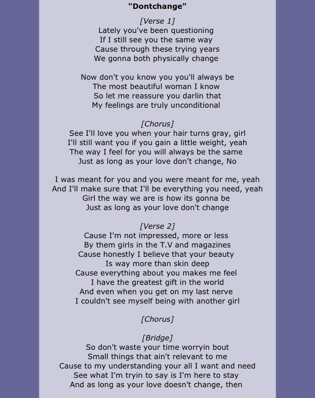 Our song<3 Don't change- Musiq