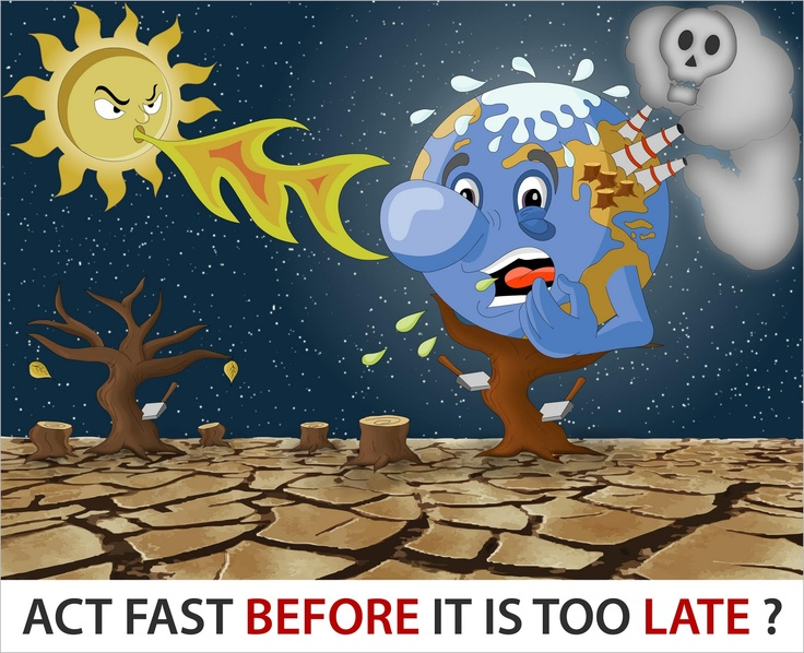"""This picture represents global warming because the sun is causing the earth to """"sweat"""" and it's blowing off """"steam"""""""