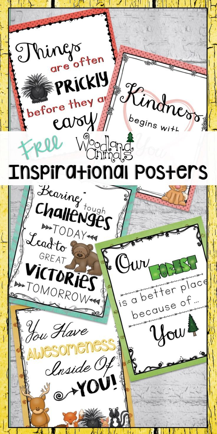 Woodland Animals Forest Themed Inspirational Classroom Posters