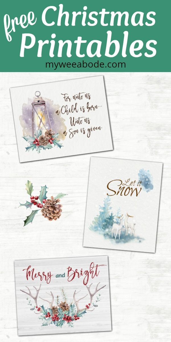 Free Watercolor Printables For Christmas And Winter Free