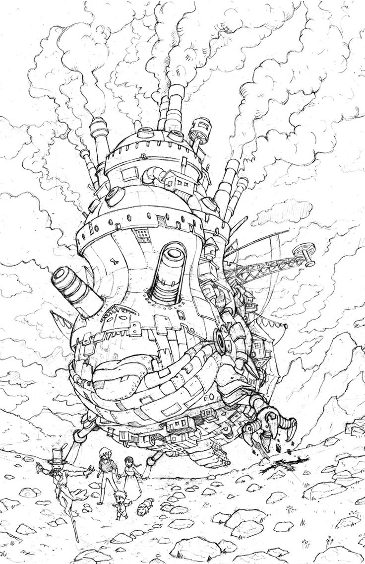 moving coloring pages - howl s moving castle coloring book coloring pages