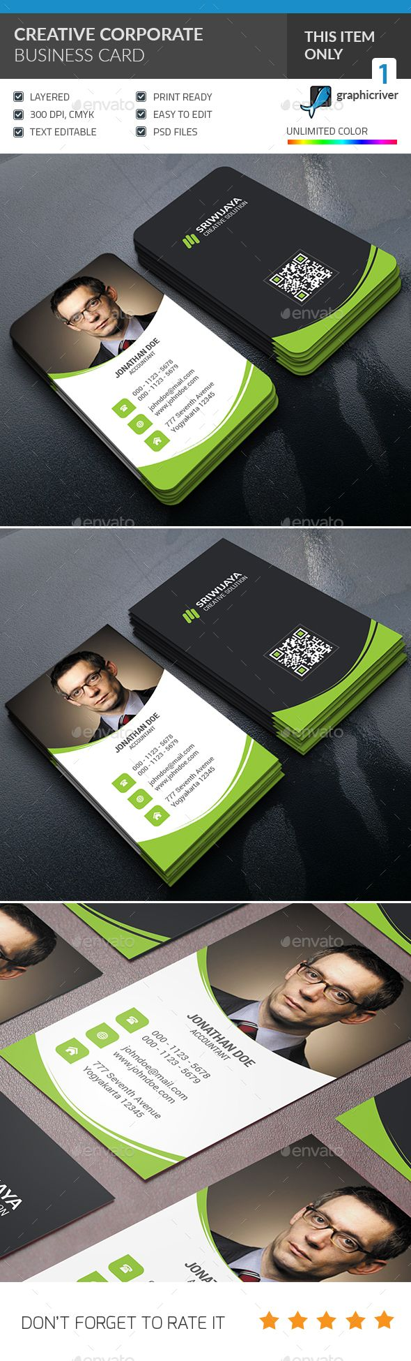 Creative Corporate Business Card — Photoshop PSD #minimalist #photo • Available here → https://graphicriver.net/item/creative-corporate-business-card-/14237183?ref=pxcr