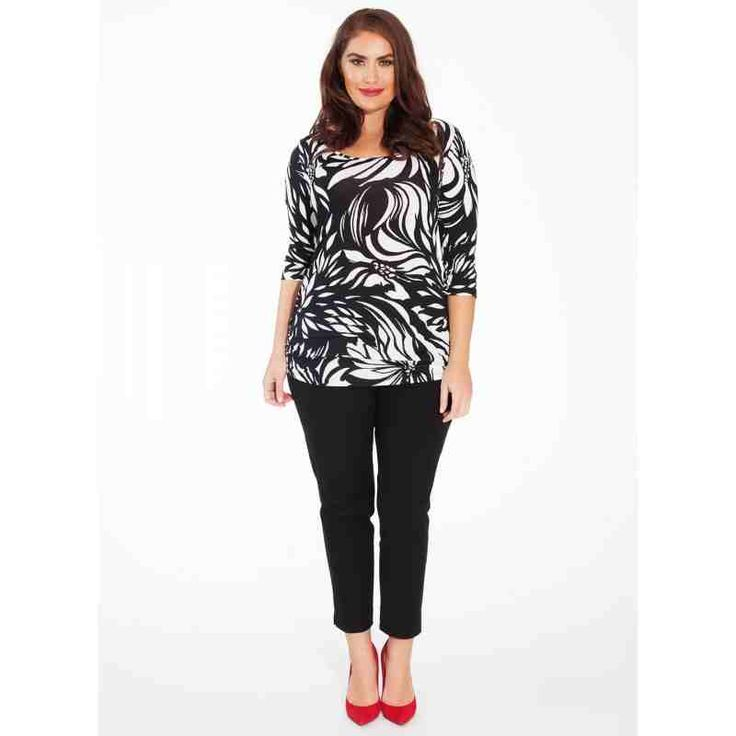 PRE-ORDER - Mindy Plus Size Top in Tropic Noir $88.00 http://www.curvyclothing.com.au/index.php?route=product/product&path=95_96&product_id=8527