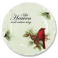 """Christmas Holiday Cardinal Plate - Tableware Dish Festive holiday plate with cardinal designs. Ceramic with fluted edge. 8.25"""" diameter. Words read: """"Let Heaven and Nature Sing."""" Dishwasher, oven, and microwave safe."""