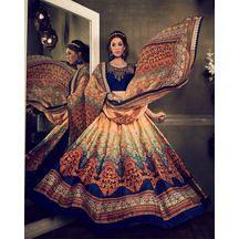 Beige Color Eri Silk Digital Print Lehenga With Designer Work Choli And Pure Georgette Dupatta    ₹Rs 4,777
