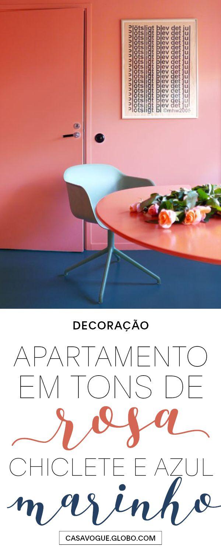 Rosa chiclete, azul marinho e tons suaves se encontram em clima contemporâneo e descolado neste apartamento sueco