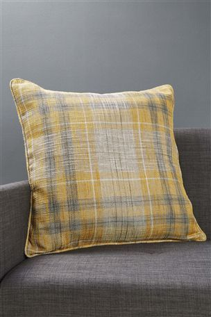 Buy Ochre Astley Woven Boucle Check Cushion from the Next UK online shop