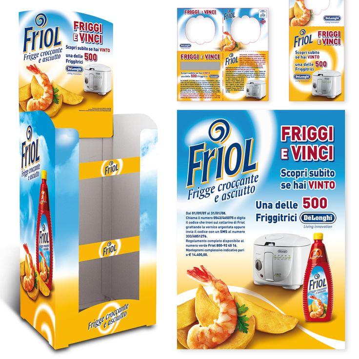 """FRIOL Olio per Friggere Attività al Punto Vendita """"Friggi e Vinci"""" Box Pallet - Floor Stand - Collarini - Flyer"""