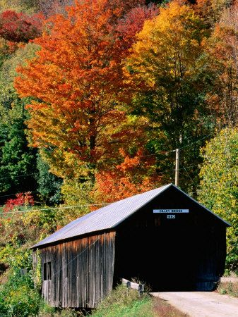 covered bridges. vermont. fall.
